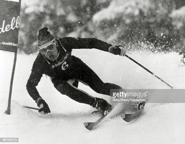 January 1968 French skier JeanClaude Killy competing at Adelboden Switzerland where Killy was to win the Giant Slalom In the 1968 Winter Olympics...