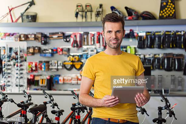 Sport store manager with digital tablet