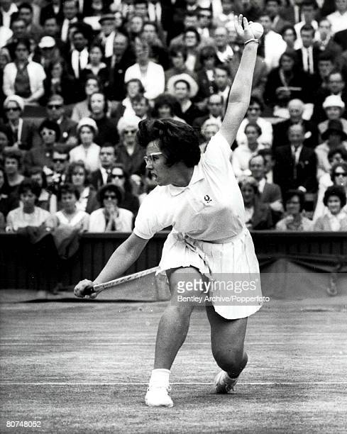 Sport Tennis 8th July 1963 Billie Jean King of America on her way to being beat by seeded player Margaret Smith of Australia in the final of the...