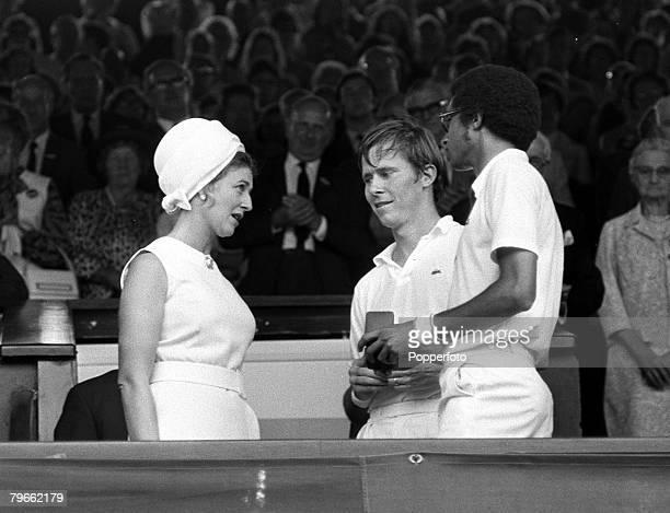 Sport Tennis All England Lawn Tennis Championships Wimbledon England 2nd July 1971 Mens Doubles Final Princess Alexandra talks with Men's Doubles...