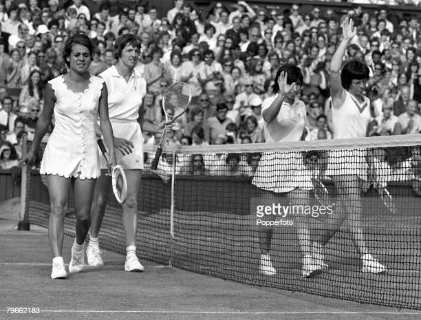 Sport Tennis All England Lawn Tennis Championships Wimbledon England 3rd July 1971 Ladies Doubles Final Americans Billie JeanKing and doubles partner...