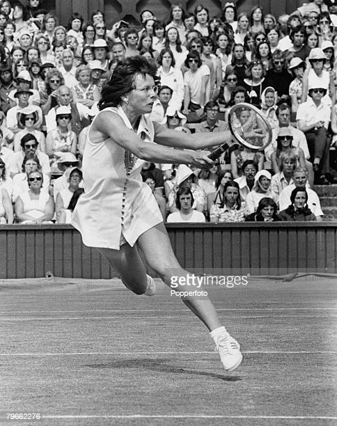 Sport Tennis All England Lawn Tennis Championships Wimbledon England 4th July 1973 Ladies Singles SemiFinal USA's Billie Jean King is pictured in...