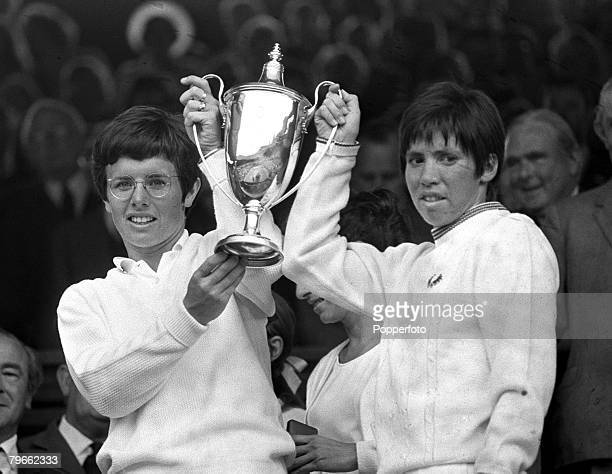 Sport Tennis All England Lawn Tennis Championships Wimbledon England 4th July 1970 Ladies Doubles Final American's Billie JeanKing and Rosie Casals...