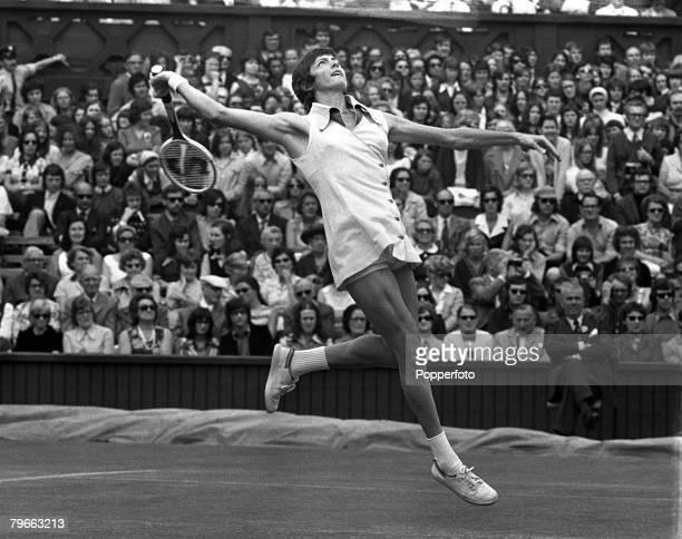 Sport Tennis All England Lawn Tennis Championships Wimbledon England 27th June 1973 Ladies Singles Australia's Margaret Court prepares to hit an...