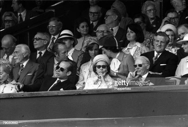 Sport Tennis All England Lawn Tennis Championships Wimbledon London England 1st July 1977 Ladies Singles Final HM Queen Elizabeth II watches the...