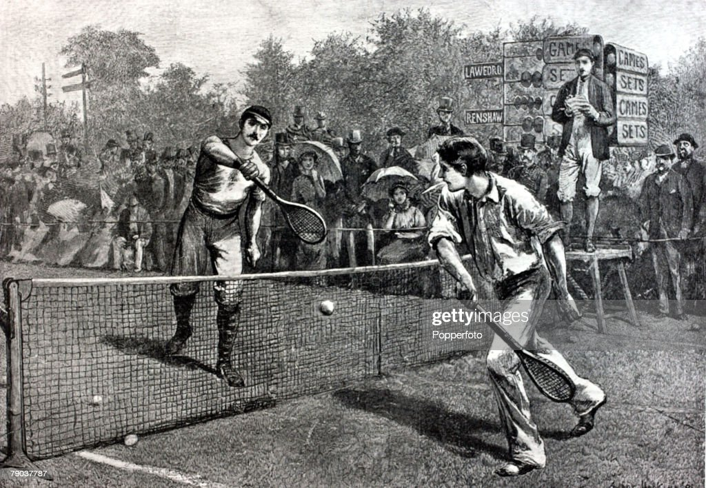 Sport, Tennis, All England Lawn Tennis Championships, Wimbledon, London, England, 1881, A contemporary artist's impression of the 5th round match between H,F,Lawford and W,Renshaw, won by Renshaw who claimed the Mens Singles title