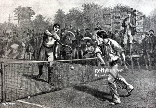 Sport Tennis All England Lawn Tennis Championships Wimbledon London England A contemporary artist's impression of the 5th round match between...