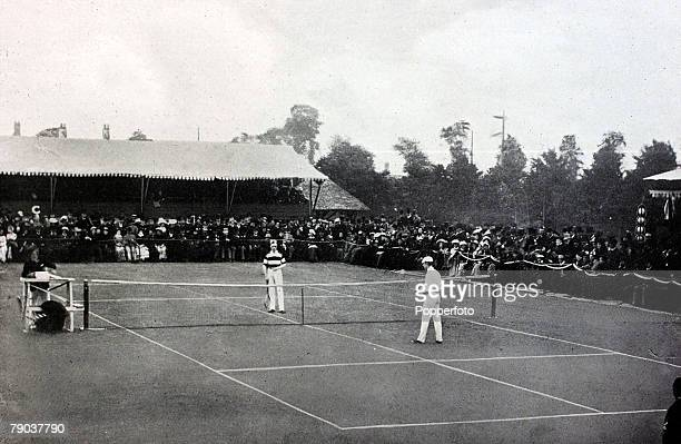 Sport Tennis All England Lawn Tennis Championships Wimbledon London England pic 1883 Mens Singles Final England pair Willie and Ernest Renshaw...