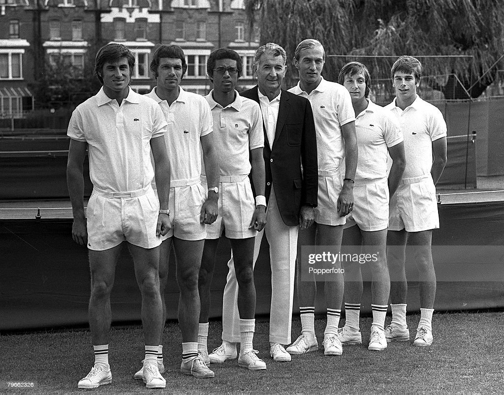 Sport Tennis London England 1st July 1970 The American Davis Cup team are pictured together LR Charlie Pasarell Clark Graebner Arthur Ashe Edward...