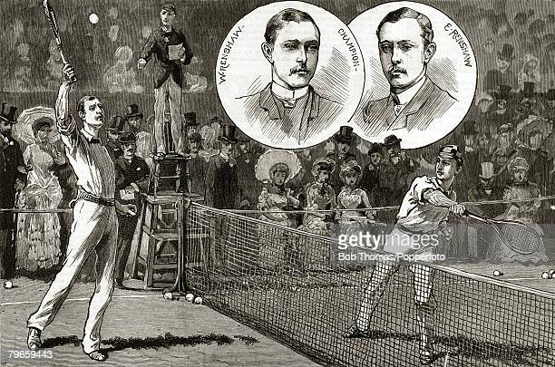 1882 1882 Wimbledon Lawn Tennis Championships This illustration shows Ernest and William Renshaw contesting final set of the Mens Singles Final with...