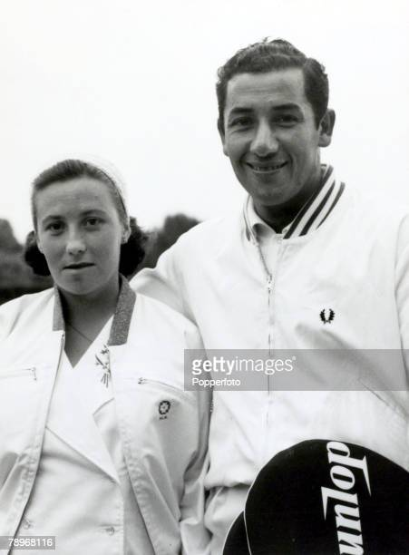 27th June 1959 Chilean tennis champion Luis Ayala pictured with his wife Maria at Wimbledon after playing together as doubles partners depite the...