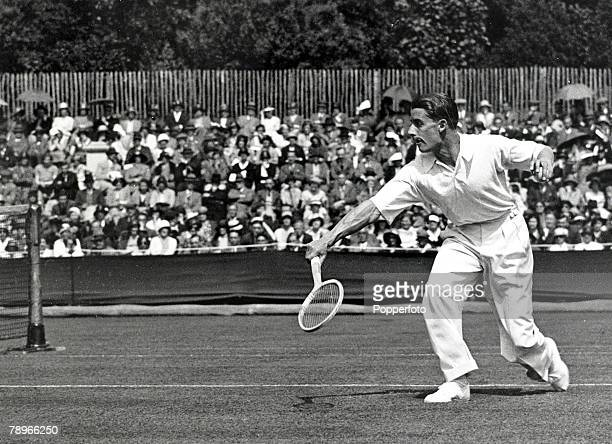 9th June 1932 Great Britain's HW 'Bunny' Austin playing the American GS Hangin at Eastbourne 'Bunny' Austin was a Wimbledon Mens Singles finalist...