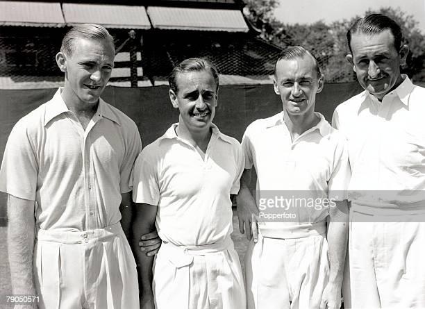 Sport Tennis The Australian Davis Cup team John Bromwich Adrian Qvist Harry Hopman and Jack Crawford