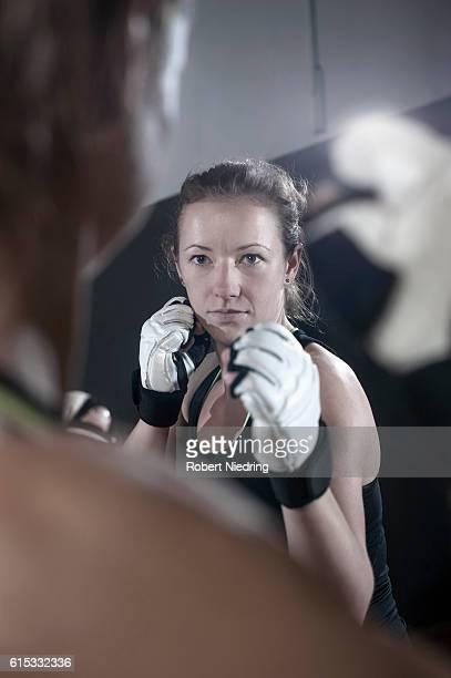 Sport training of two boxing women, Bavaria, Germany