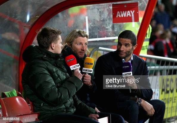 Sport TV football pundits Robbie Savage and David James during the FA Cup Second Round match between Wrexham AFC and Oxford United at Racecourse...