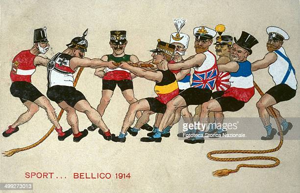 Sport warlike 1914 Allegory of alliances at the beginning of the world war strong athletes compete to a tugofwar Germany and Austria on one side with...