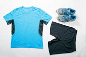 Menswear for running, flat lay