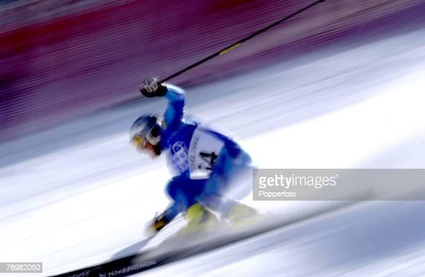 Sport Winter Olympic Games Salt Lake City Utah USA 21th February 2002 Alpine Skiing Mens Giant Slalom Skiing illustration using motion blur