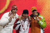 Sport Winter Olympic Games Torino Italy 10th 26th February 2006 21th February Medal Ceremony Nordic Combined LH 75 KM Sprint Felix Gottwald of...