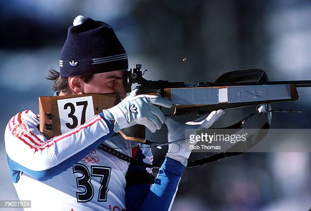 Sport XXIV Winter Olympic Games Calgary Canada February 1988 20km Biathlon Czechoslovakia's Jiri Holvbec is pictured shooting his rifle