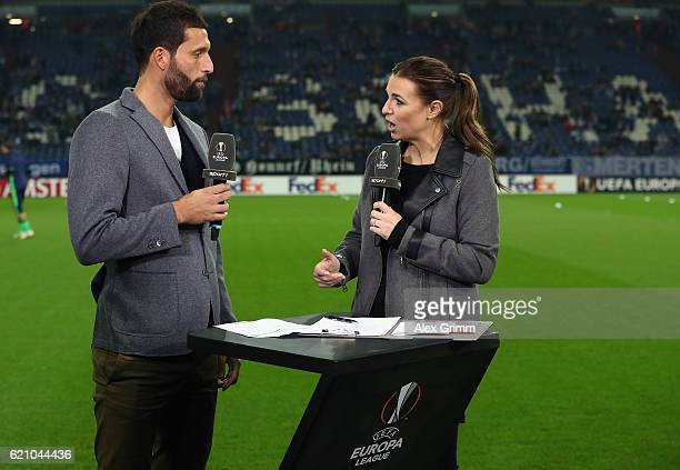 Sport1 TV host Laura Wontorra and former Schalke player Kevin Kuranyi prior to the UEFA Europa League Group I match between FC Schalke 04 and FC...
