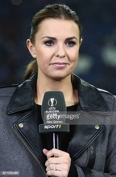 Sport1 TV host Laura Wontorra looks on prior to the UEFA Europa League Group I match between FC Schalke 04 and FC Krasnodar VeltinsArena on November...