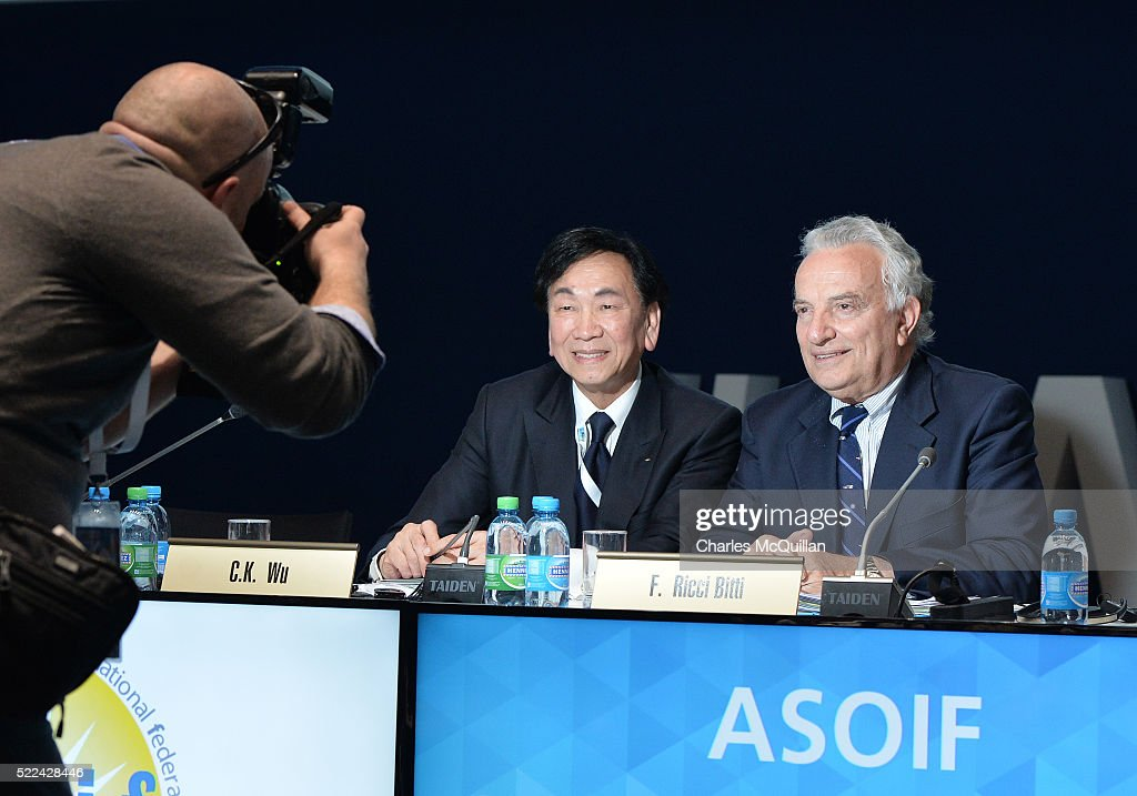SportAccord Convention President <a gi-track='captionPersonalityLinkClicked' href=/galleries/search?phrase=Francesco+Ricci+Bitti&family=editorial&specificpeople=575852 ng-click='$event.stopPropagation()'>Francesco Ricci Bitti</a> (R) is congratulated after being re-elected ASOIF President by C.K Wu (L) at the ASOIF General Assembly during the third day of SportAccord Convention at the SwissTech Convention Centre on April 19, 2016 in Lausanne, Switzerland.