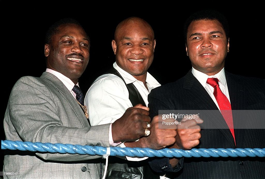 Sport/Boxing, London, England, September 1989, Three former World Heavyweight Champions of the World pictured at a charity boxing evening, L-R: Joe Frazier, George Foreman and <a gi-track='captionPersonalityLinkClicked' href=/galleries/search?phrase=Muhammad+Ali+-+Boxer+-+Born+1942&family=editorial&specificpeople=93853 ng-click='$event.stopPropagation()'>Muhammad Ali</a>