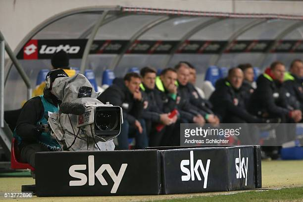 SportCast TV camera produced for sky tv during the Bundesliga match between 1899 Hoffenheim and FC Augusburg at Wirsol RheinNeckarArena on March 2...