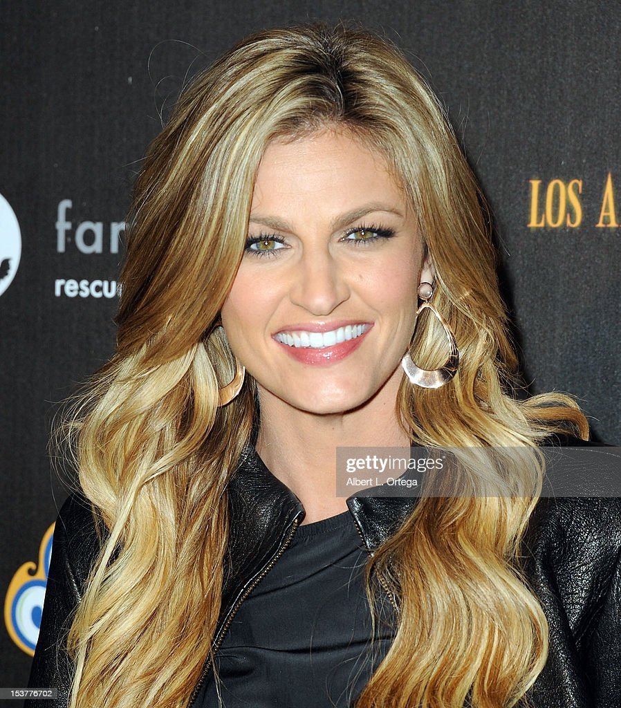 Sportcaster <a gi-track='captionPersonalityLinkClicked' href=/galleries/search?phrase=Erin+Andrews&family=editorial&specificpeople=834273 ng-click='$event.stopPropagation()'>Erin Andrews</a> arrives for the 4th Annual Los Angeles Haunted Hayride - 'The Congregation' - Arrivals held at Griffith Park on October 7, 2012 in Los Angeles, California.