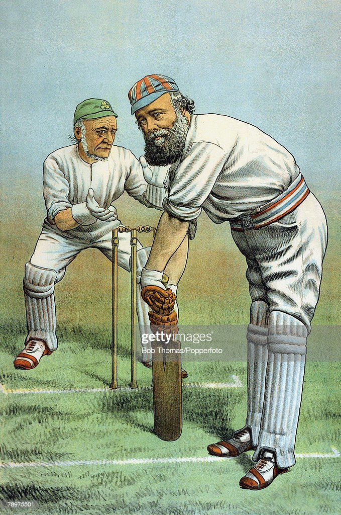 Sport/Cricket, Politics, Colour illustration, The St, Stephen's Review Presentation Cartoon from 6th July 1889, entitled 'Not Out Yet', This cricket illustration has a political message, showing the batsman Lord Salisbury, batting for the retention of the Union, and the wicket-keeper, behind the stumps his political adversary William Gladstone, a supporter of Irish Home Rule, Salisbury the Conservative is shown wearing a Union Jack cap, while the Liberal Gladsone, dons the green of Ireland with the bails on the stumps reading Union, for, on which subject the two were bitterly divided, During the 1880's when both had terms of office as British Prime Minister, Salisbury argued against and defeated Irish Home Rule Bills forwarded by William Gladstone
