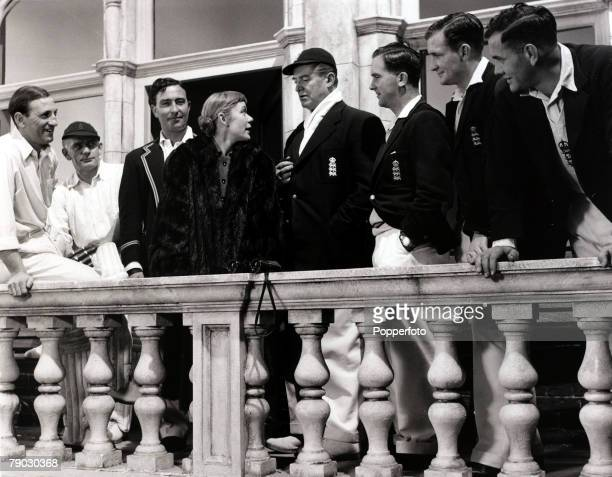 Sport/Cricket/Cinema England 21st November 1952 Cricketers and actors are pictured at Pinewood Studios during a break from the filming of 'The Final...