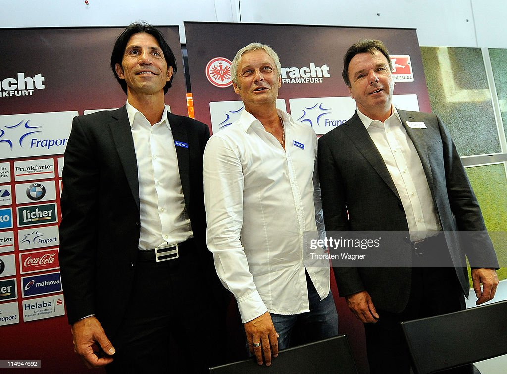 Sportdirector <a gi-track='captionPersonalityLinkClicked' href=/galleries/search?phrase=Bruno+Huebner&family=editorial&specificpeople=4376972 ng-click='$event.stopPropagation()'>Bruno Huebner</a>, <a gi-track='captionPersonalityLinkClicked' href=/galleries/search?phrase=Armin+Veh&family=editorial&specificpeople=683317 ng-click='$event.stopPropagation()'>Armin Veh</a> and ceo <a gi-track='captionPersonalityLinkClicked' href=/galleries/search?phrase=Heribert+Bruchhagen&family=editorial&specificpeople=683298 ng-click='$event.stopPropagation()'>Heribert Bruchhagen</a> pose after the presentation of <a gi-track='captionPersonalityLinkClicked' href=/galleries/search?phrase=Armin+Veh&family=editorial&specificpeople=683317 ng-click='$event.stopPropagation()'>Armin Veh</a> as new head coach at Commerzbank Arena on May 31, 2011 in Frankfurt am Main, Germany.