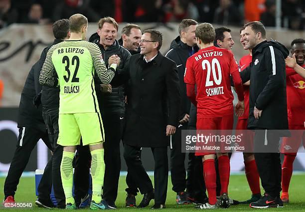 Sportdirektor Ralf Rangnick Peter Gulasci Ralph Hasenhüttl Trainer head coach RB Leipzigduring the Bundesliga match between Bayer 04 Leverkusen and...