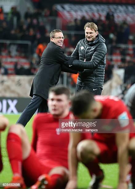 Sportdirektor Ralf Rangnick Ralph Hasenhüttl Trainer head coach RB Leipzig during the Bundesliga match between Bayer 04 Leverkusen and RB Leipzig at...