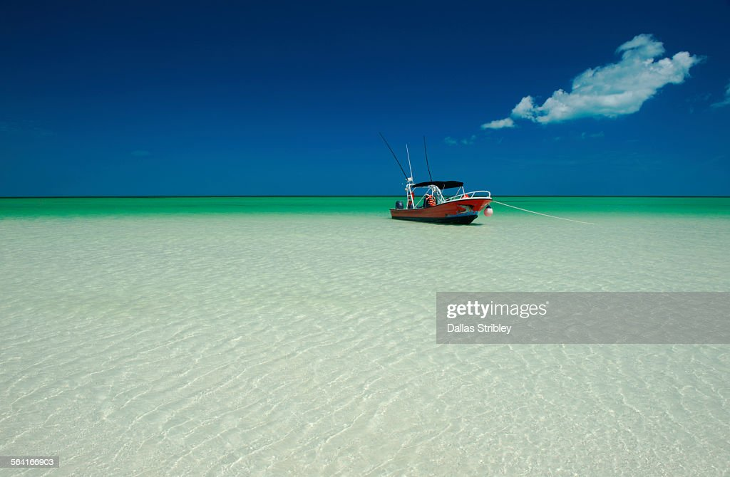 Sport-fishing boat in the shallows, Holbox Island