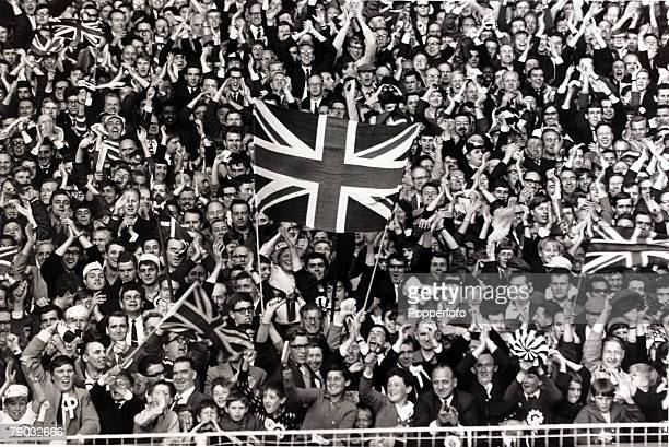 Sport/Football 1966 World Cup Finals Wembley London 26th July 1966 SemiFinal England 2 v Portugal 1 Patriotic fervour grips the crowd with Union...