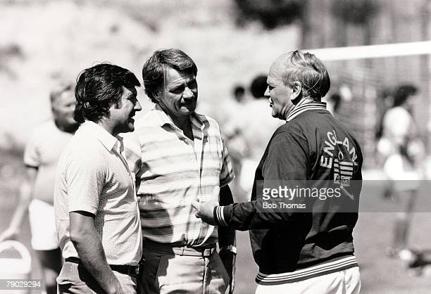 Sport/Football 1982 World Cup Finals in Spain England Manager Ron Greenwood with Terry Venables and Bobby Robson during a break in England's training...