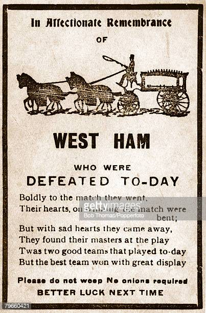 Sport/Football 28th April 1923 1923 FA Cup Final Wembley Bolton Wanderers 2 v West Ham United 0 A rhyming humorous card printed and circulated on the...