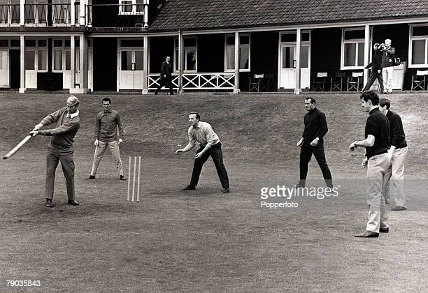 SportFootball 7th July 1966 Roehampton 1966 World Cup Finals in England Bobby Charlton batting in a lighthearted cricket match with England players...