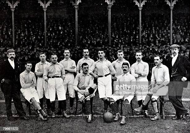 Sport/Football circa 1896 The Blackburn Rovers team pose together for a group photograph Back row lr EHDodd JHaydock JHargreaves JWhitehead...