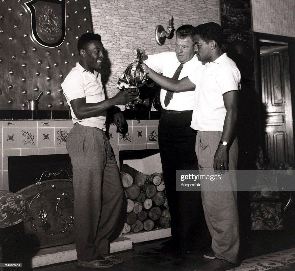 Sport Football circa 1965 Brazil s Pele left and Garrincha