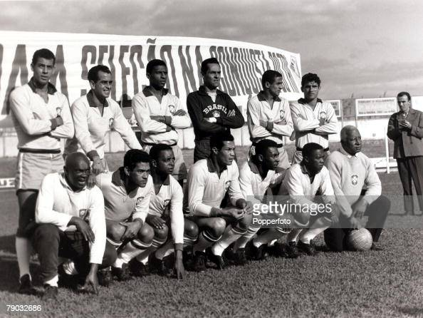 Sport/Football circa 1966 A Brazil XI pictured prior to the build up to the 1966 World Cup Finals held in England players include Carlos Alberto Zito...