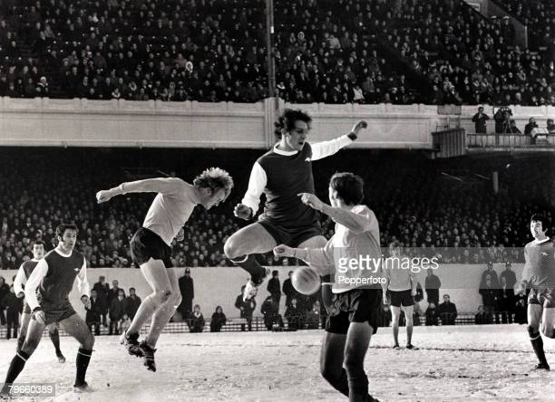 Sport/Football League Division One London England 27th December 1971 Arsenal 0 v Southampton 0 Arsenal's John Radford leaps for the ball watched by...