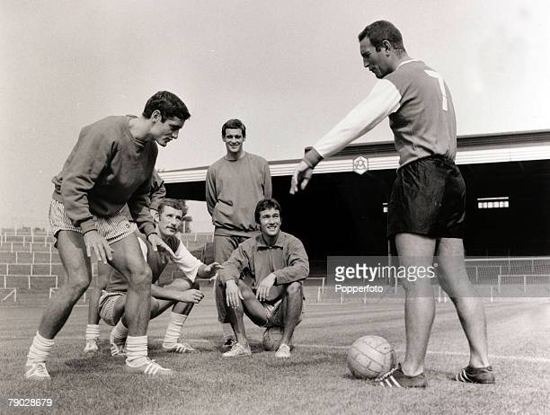Sport/Football London England 11th August 1967 Arsenal Coach Dave Sexton instructs players at Highbury LR Frank Mclintock Terry Neill and Jon Sammels...