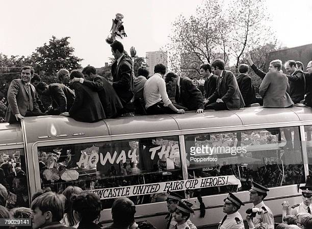 Sport/Football Newcastle England 12th June 1969 Newcastle United captain Bobby Moncur holds aloft the Inter Cities Fairs Cup on the open top team bus...