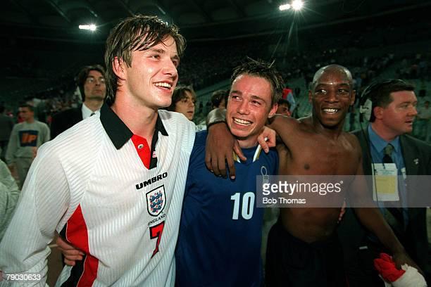 Sport/Football World Cup Qualifier Rome 11th October 1997 Italy 0 v England 0 England trio LR David Beckham Graeme Le Saux and Ian Wright celebrate...