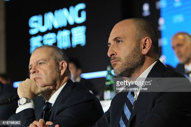 Sportif Director of FC Internazionale Milano Piero Ausilio and Chief Football Administrator of FC Internazionale Milano Giovanni Gardini look on...