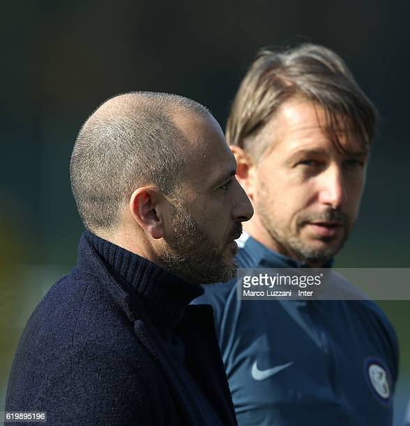 Sportif Director of FC Internazionale Milano Piero Ausilio and FC Internazionale Milano coach Stefano Vecchi look on during the FC Internazionale...