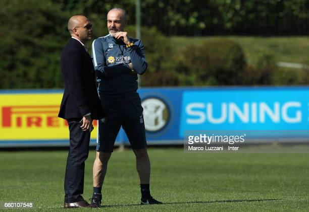 Sportif Director of FC Internazionale Milano Piero Ausilio and FC Internazionale Milano coach Stefano Pioli look on during the FC Internazionale...